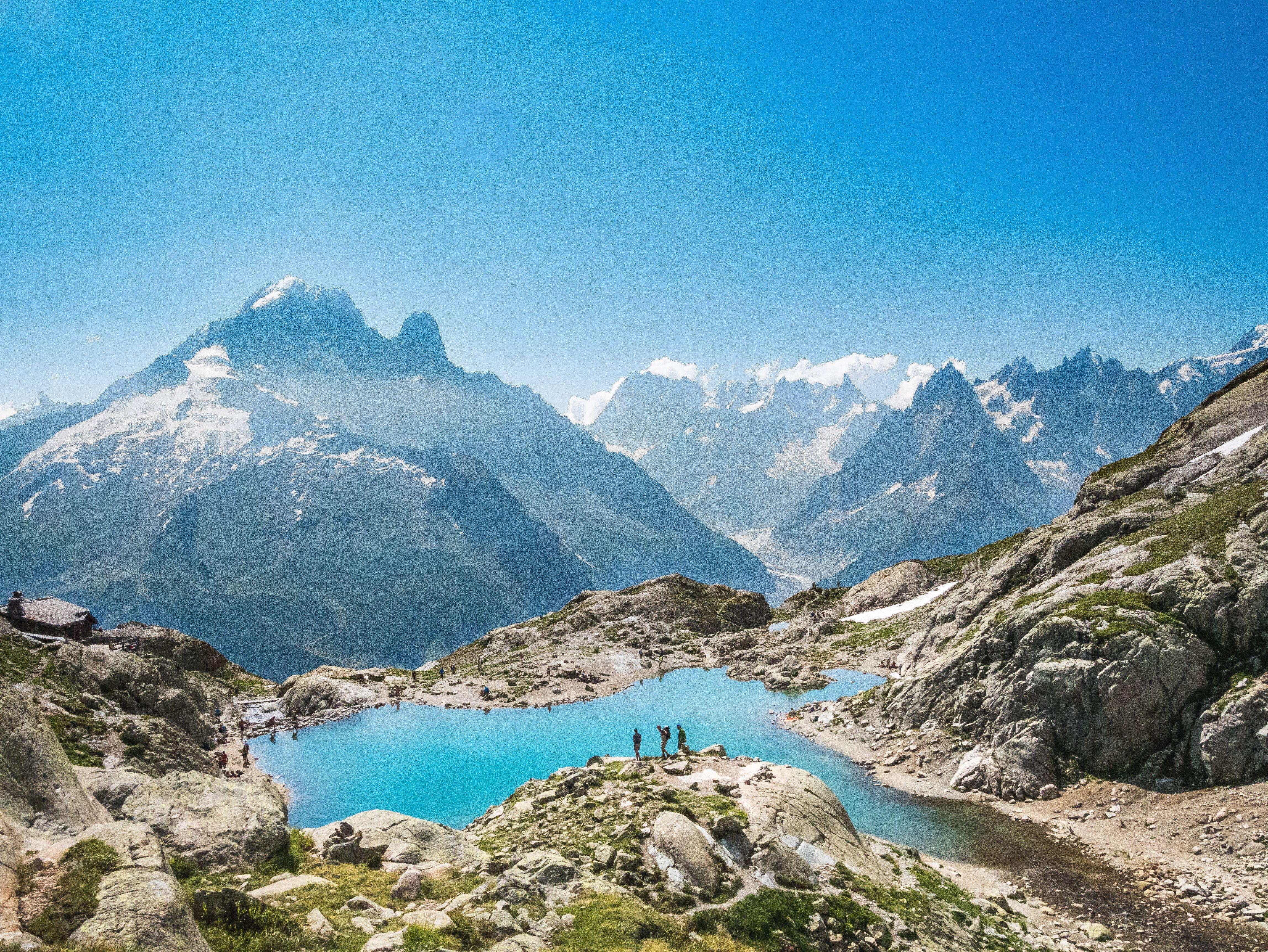 Lac Blanc Avec Vue Sur Le Mont Blanc Lac Blanc Mont Blanc Paysage Magnifique Montagne