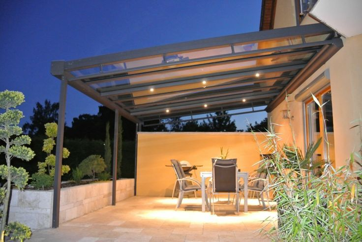 terrassen überdachung glas transparent gestell aluminium