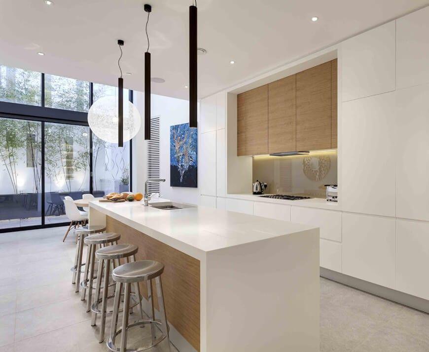 Umzug zurück in die Küche, sehen wir, dass die minimalistische - küche l form mit insel