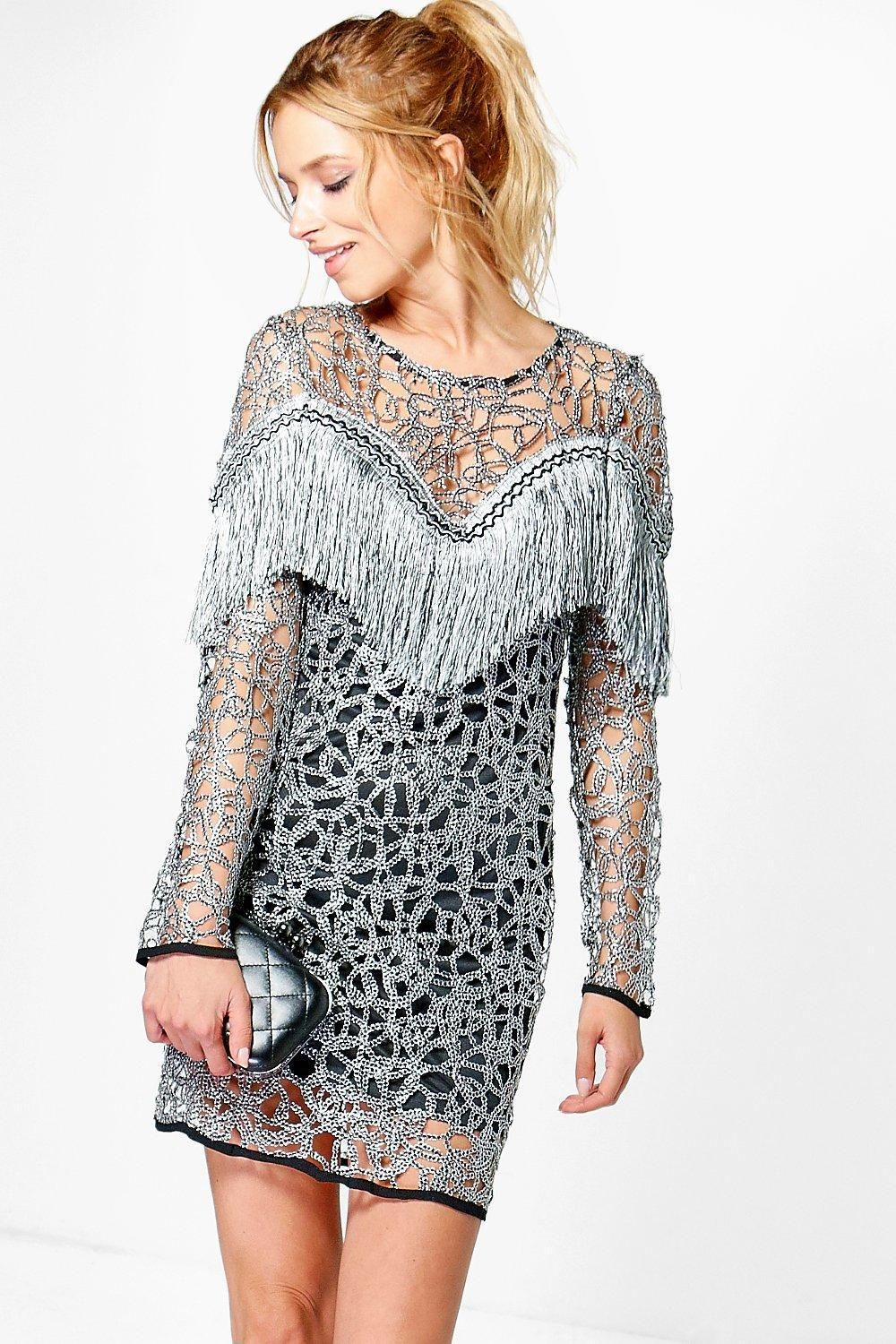 19a51ae724 Boutique Ava Tassel Long Sleeved Dress