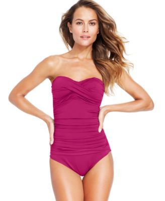 c188240d481 Anne Cole Twist-Front Bandeau One-Piece Swimsuit | macys.com | Suits ...