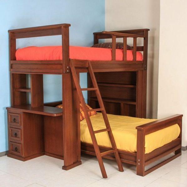 Litera de madera con escritorios litera pinterest - Literas juveniles con escritorio ...
