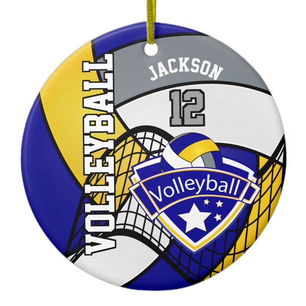 Blue Yellow And Gray Personalize Volleyball Logo Ceramic Ornament Zazzle Com In 2020 Volleyball Team Pictures Cheer Pictures