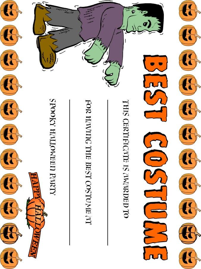 Best costume award fun free printables pinterest costumes 5 best images of halloween costume award printable certificates halloween costume certificate template halloween award certificate template and free yadclub Image collections