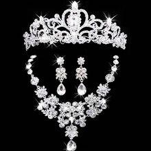 Coroa de jóias de noiva colar e brinco conjunto tiara de strass acessórios  de casamento de cristal de noiva conjuntos de jóias alishoppbrasil a697c54b3f