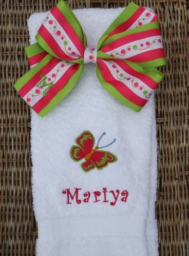 Butterfly Towel and Matching Hair Bow Set - $26.36