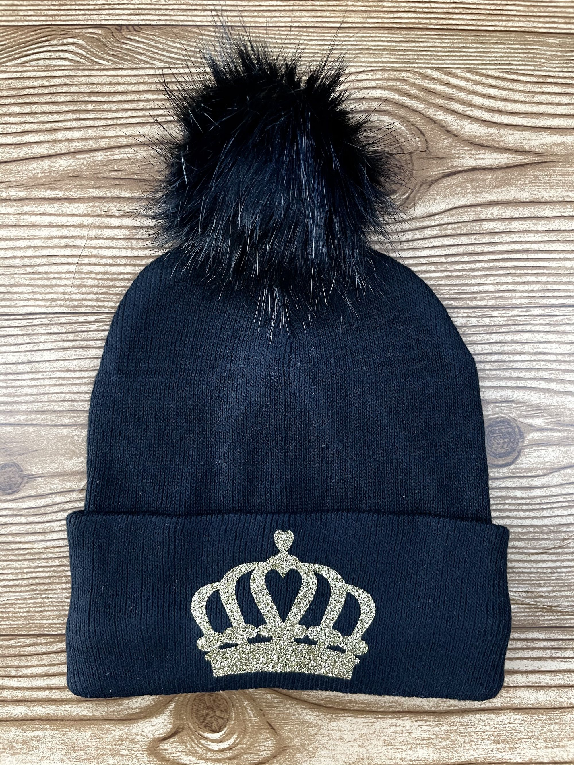 Women/'s Winter Hats Winter Hats for Women and Children Gray Knit Hat Beanie with Black Glitter Crown and Pom Pom Black Crown Beanie