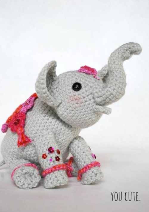 """This week's free pattern on amigurumipatterns.net is Little Jyoti by YouCute Design. http://ift.tt/1WcmE62 Jyoti is a Hindi name meaning """"light."""" She is a """"painted"""" Indian elephant celebrating the arrival of Spring and the Holi Festival in Jaipur..."""