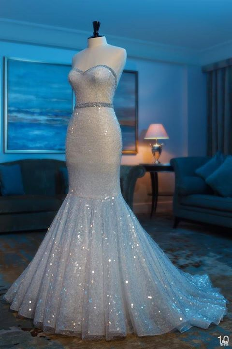 Fashion Sweetheart Sparkly Beaded Shiny Glitter Sequins Mermaid Ivory Wedding Dresses Gown 2017 New Bridal Formal Dress China Mainland