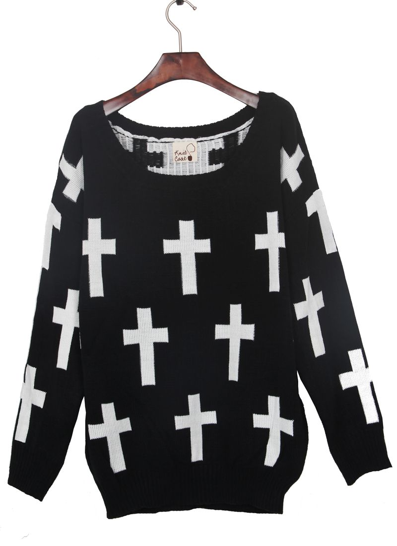 844e0d31239a04 Black Round Neck and White Cross Pattern Jumper Sweater from  SheInsider.com.  32! I really want this but it seems like it wouldn t fit  or it would be a ...