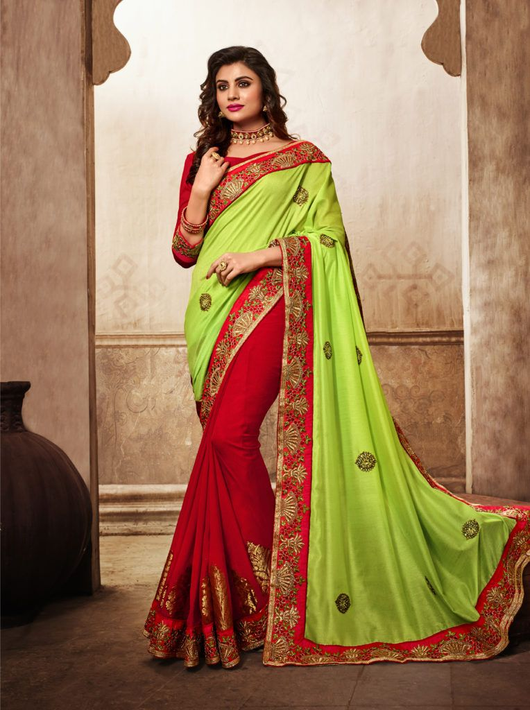 15bfa091f96851 Gorgeous Light Green   Red color Georgette Saree