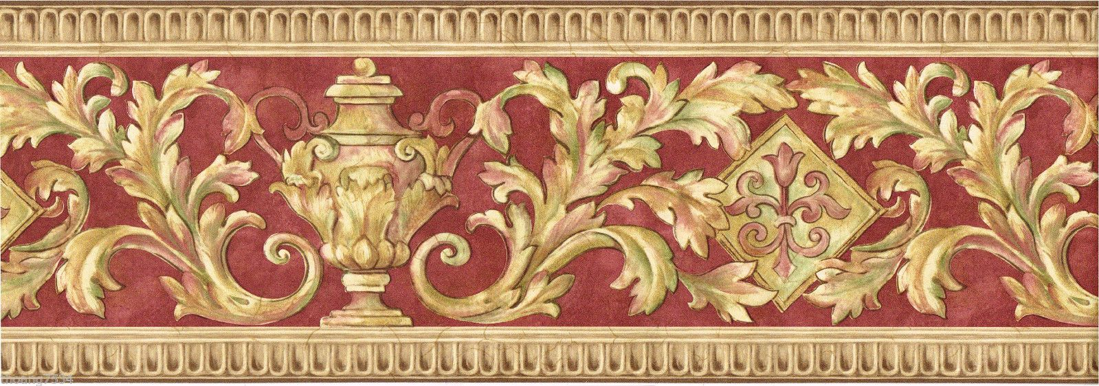 Victorian Urn Crown Molding Red Beige Brown Scroll Leaf Vine