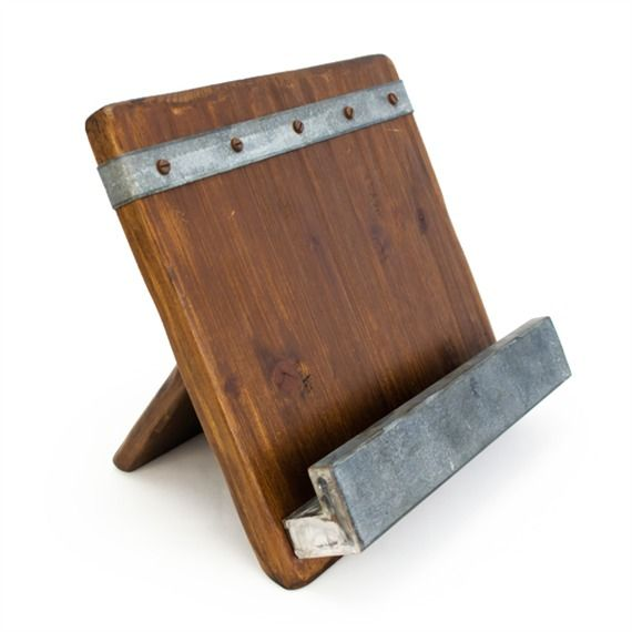 Reclaimed Wood Cookbook Tablet Stand Bambeco Cookbook Holder Reclaimed Wood Wood And Metal