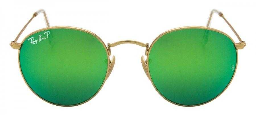 Ray Ban Round Metal RB3447 - Polarizado Espelhado - Dourado Verde -  112-P9 50 16301dd9b1