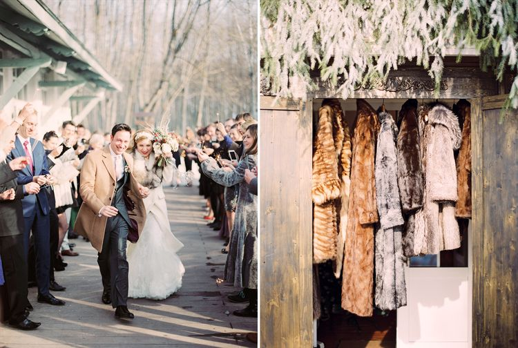 Beautiful winter wedding photograph of bride and groom sending off | Fab mood #winterwedding #wintertale