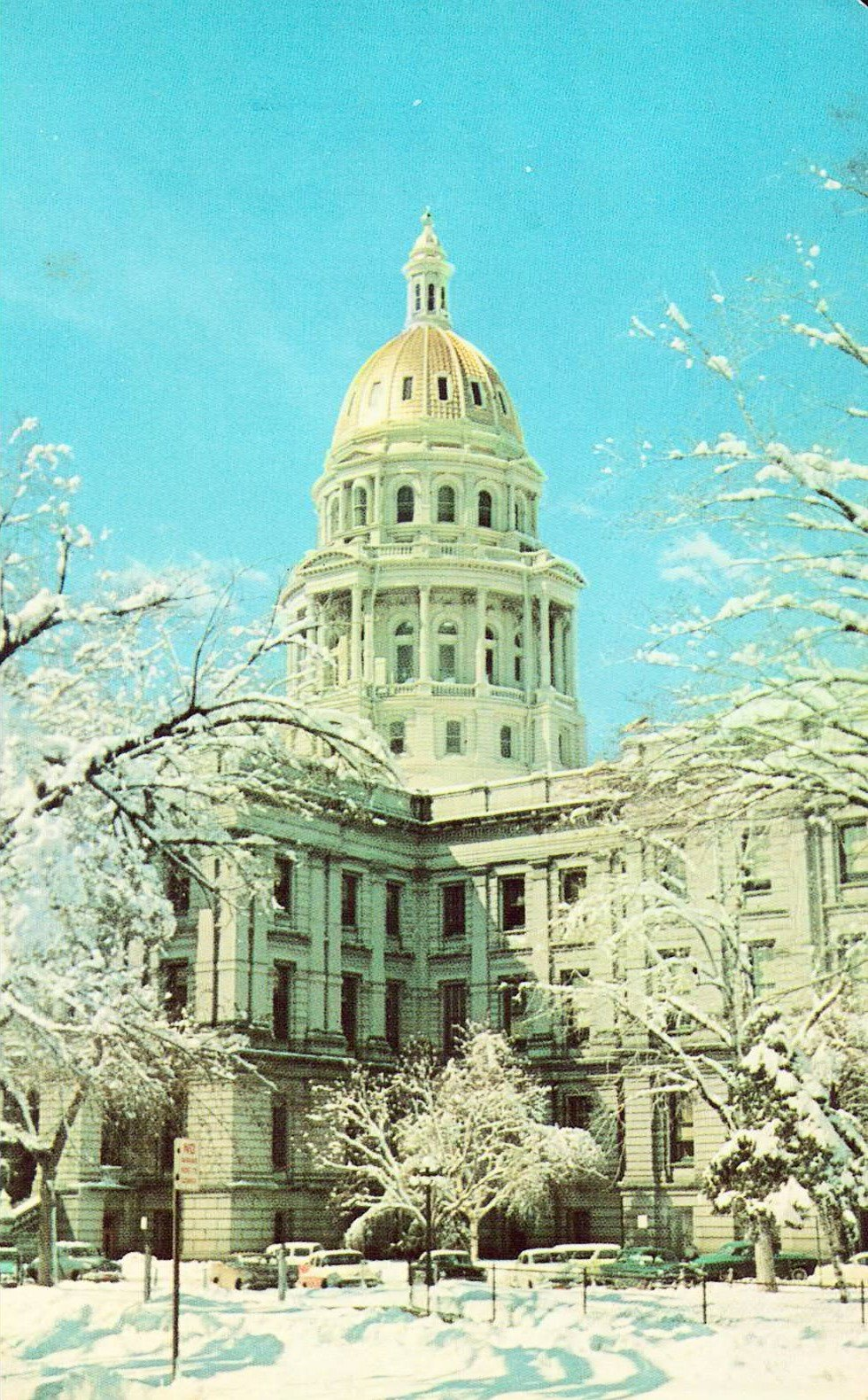 Colorado State Capitol In Winter Denver Colorado Postcard Colorado State Capitol Colorado Denver History