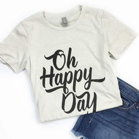 "This is a soft fitted ladies t-shirt with the ""Oh Happy Day"" design. FIT: Womens - Runs true to size. *Sand with a vintage black design."