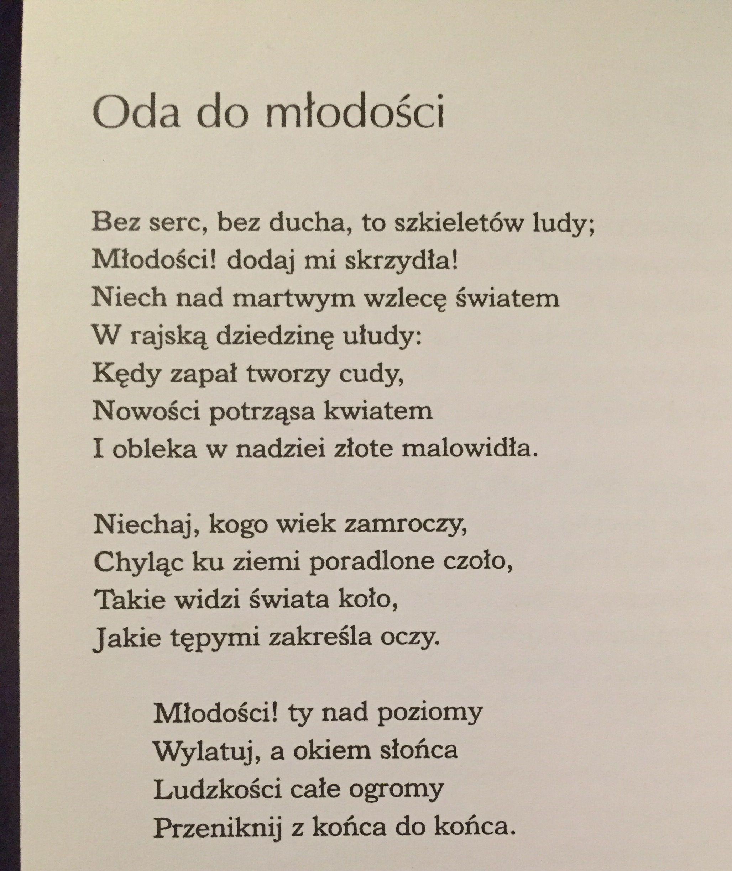 Adam Mickiewicz Fragment Oda Do Młodości Powiedzenia
