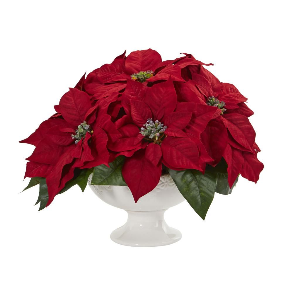 Nearly Natural Indoor Poinsettia Artificial Arrangement In Urn Artificial Flowers White Urn Artificial Floral Arrangements