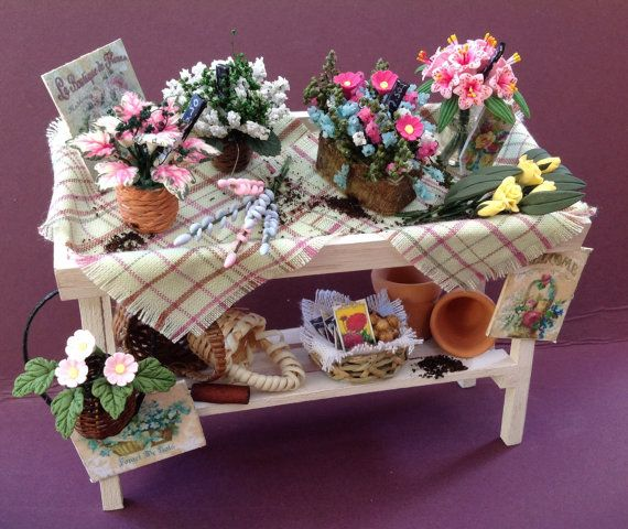 Dolls House Miniatures  Pretty Plant Stall by LittleHouseAtPriory, $95.00