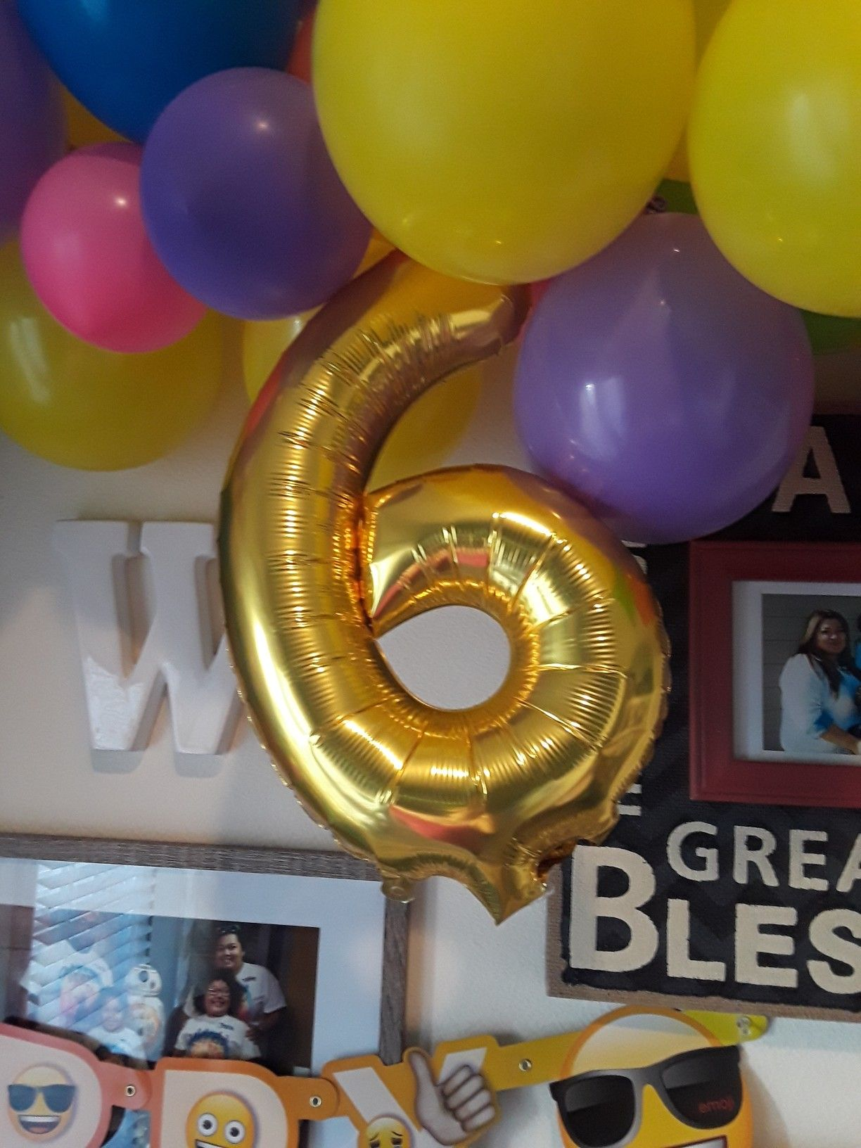 Number six balloon, foil balloon, emoji party, Mr