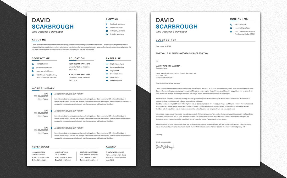 Professional CV/ Resume Template on Behance in 2020