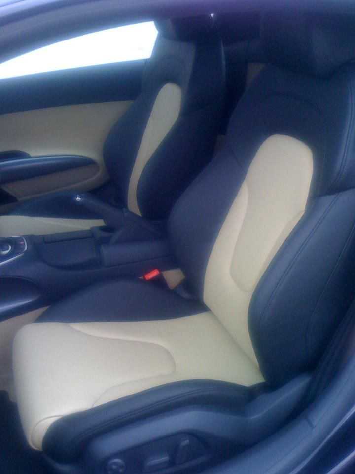 custom car auto interior tan and black two tone, could be yellow inserts  and door