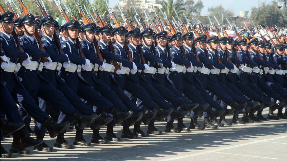 Chilean Air Force cadets marching through O'Higgins Park in Santiago at the 2011 Chilean Army Day Parade.
