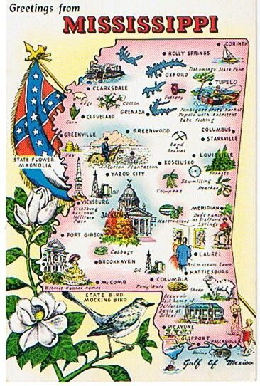Greetings From Mississippi This Postcard Features A Map Of - Map of mississippi