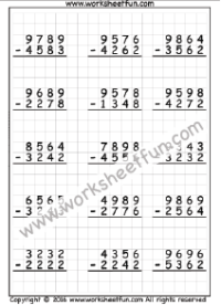 4 Digit Subtraction – No Regrouping