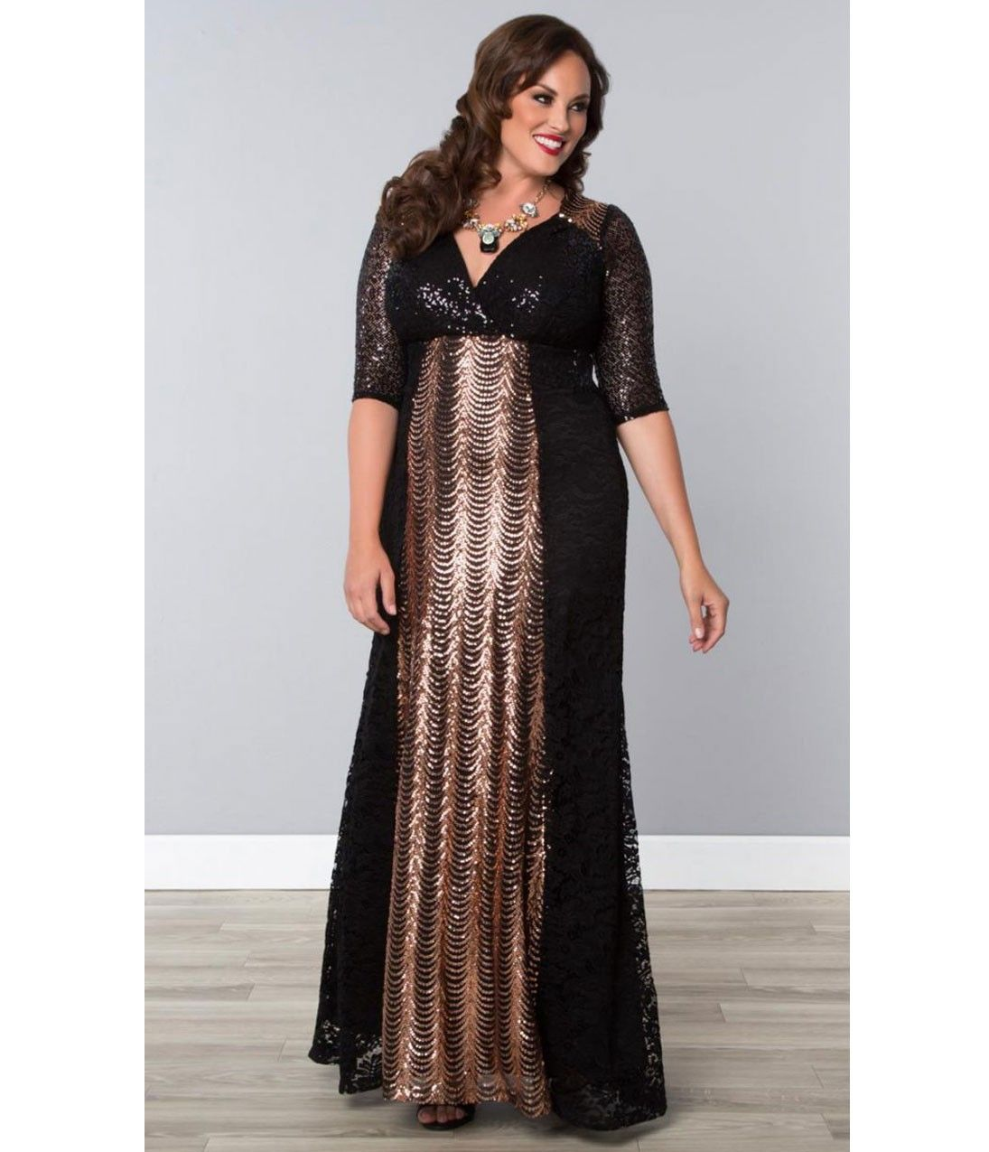 Plus Size Black & Rose Gold Scallop Sequin Grand Gatsby Gown ...
