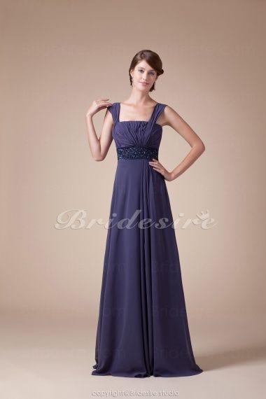 The Green Guide A Line Straps Floor Length Sleeveless Chiffon Dress Bd4535