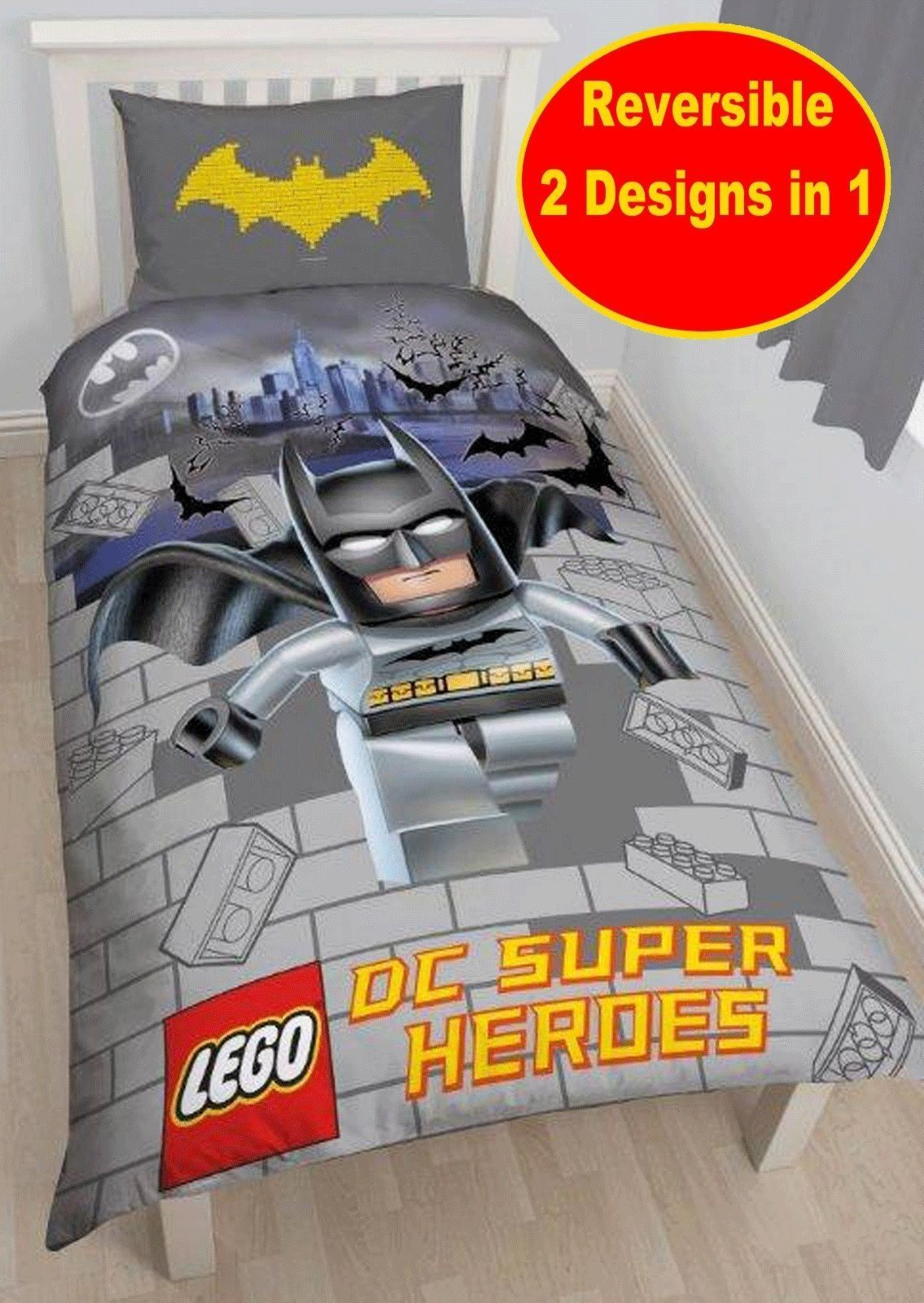 Official lego batman movie 'kapow' single duvet quilt cover set ...