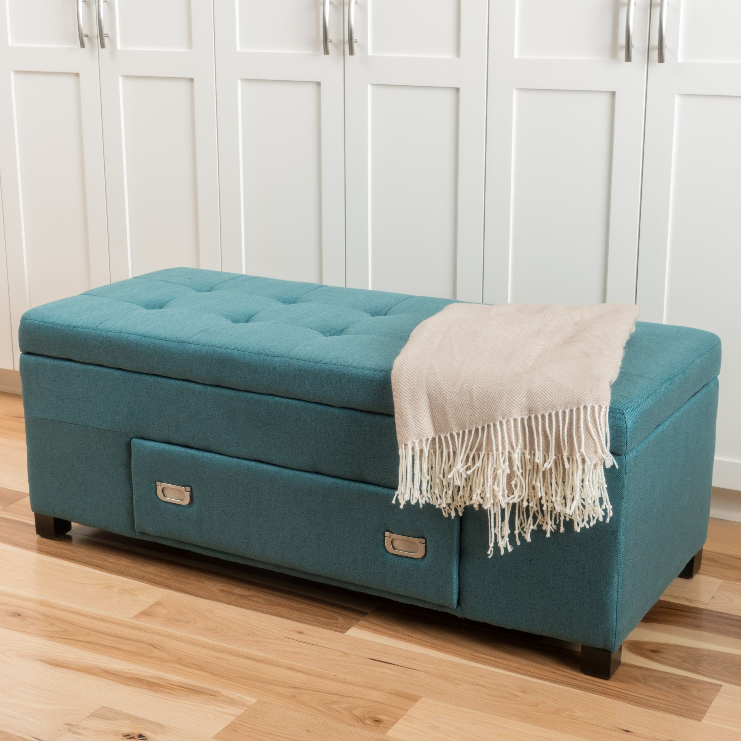 ottoman for living room%0A Ramona Tufted Fabric Storage Ottoman with Drawer