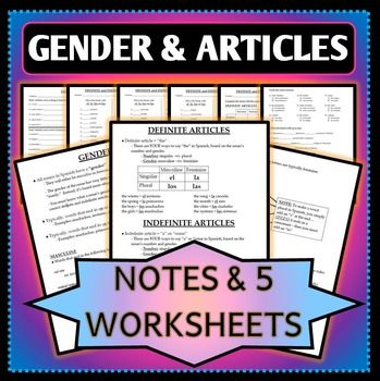 spanish 1 gender and definite indefinite articles worksheets and notes worksheets. Black Bedroom Furniture Sets. Home Design Ideas