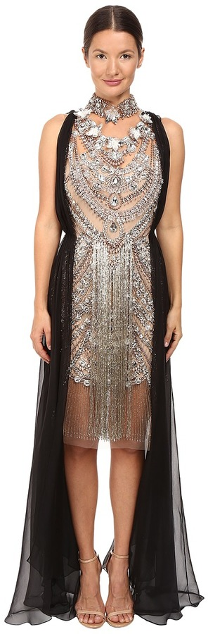 15d182a01 Marchesa - Crystal and Antique Silver Jeweled Necklace Cocktail with Bugle  Bead Fringe and Black Chiffon Grecian Drape Women s Dress