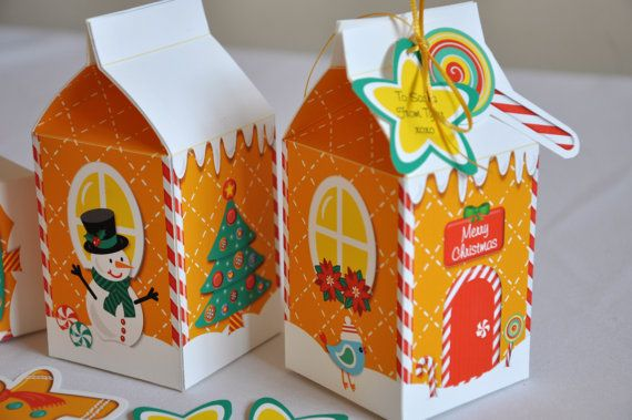 christmas holiday gingerbread house milk carton favor treat gift box rh pinterest com