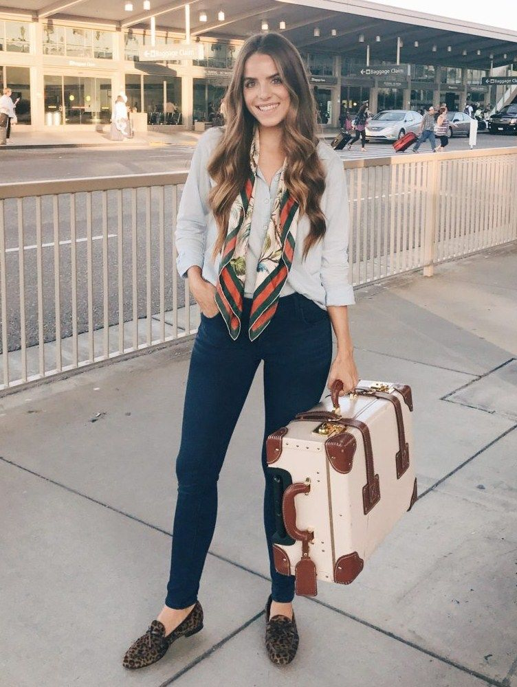 263658f2185 9.17 daily look (Velvet button-up shirt + Gucci printed scarf + Old Navy   rockstar  skinny jeans + J Crew  academy  loafers in leopard + Steamline  luggage)
