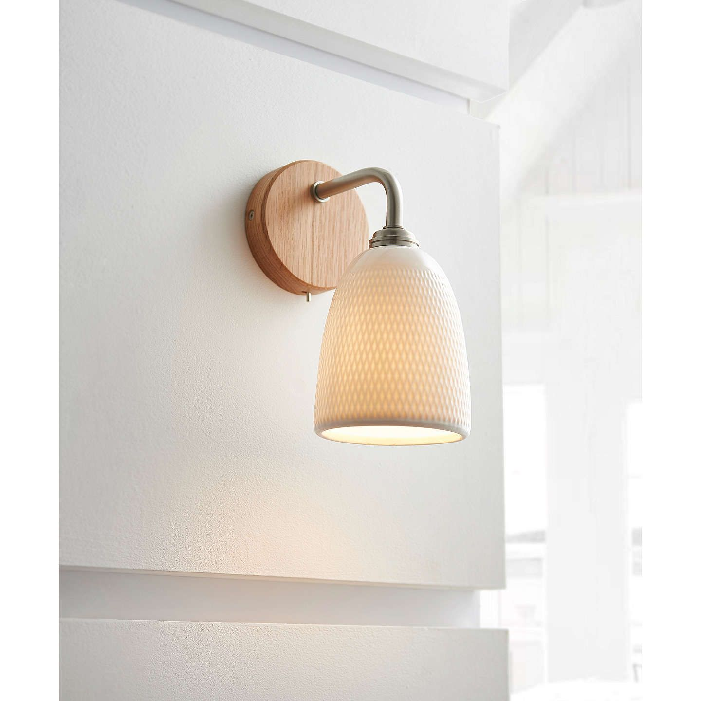 John Lewis Partners Fitcham Wood And Ceramic Wall Light White Ceramic Wall Lights Wall Lights Indoor Wall Lights