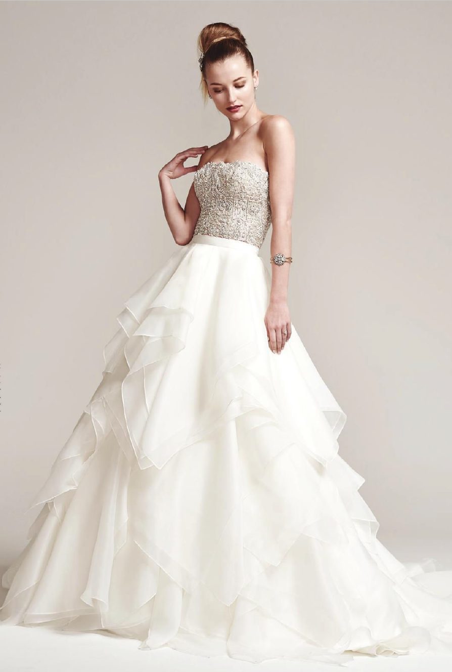 Sparkling Beaded Bodice Strapless Ball Gown Tulle Wedding Dress