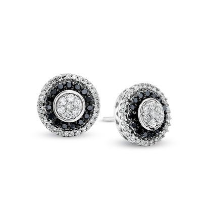 T W Enhanced Black And White Diamond Flower Earrings In 10k Gold View All Zales