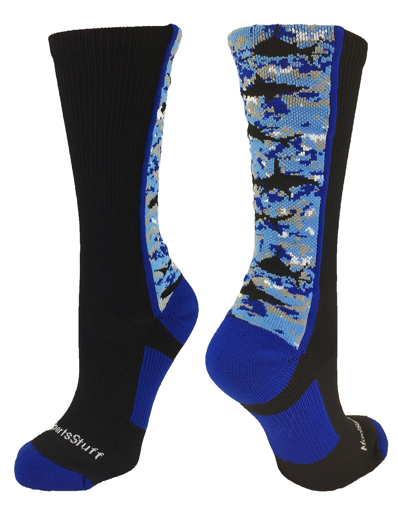 Just in- new for Spring 2016!  Anyone know any kids who would love to sport Shark Digital Camo crew socks?  Great basketball socks, lacrosse socks, flag football socks or just for fun!