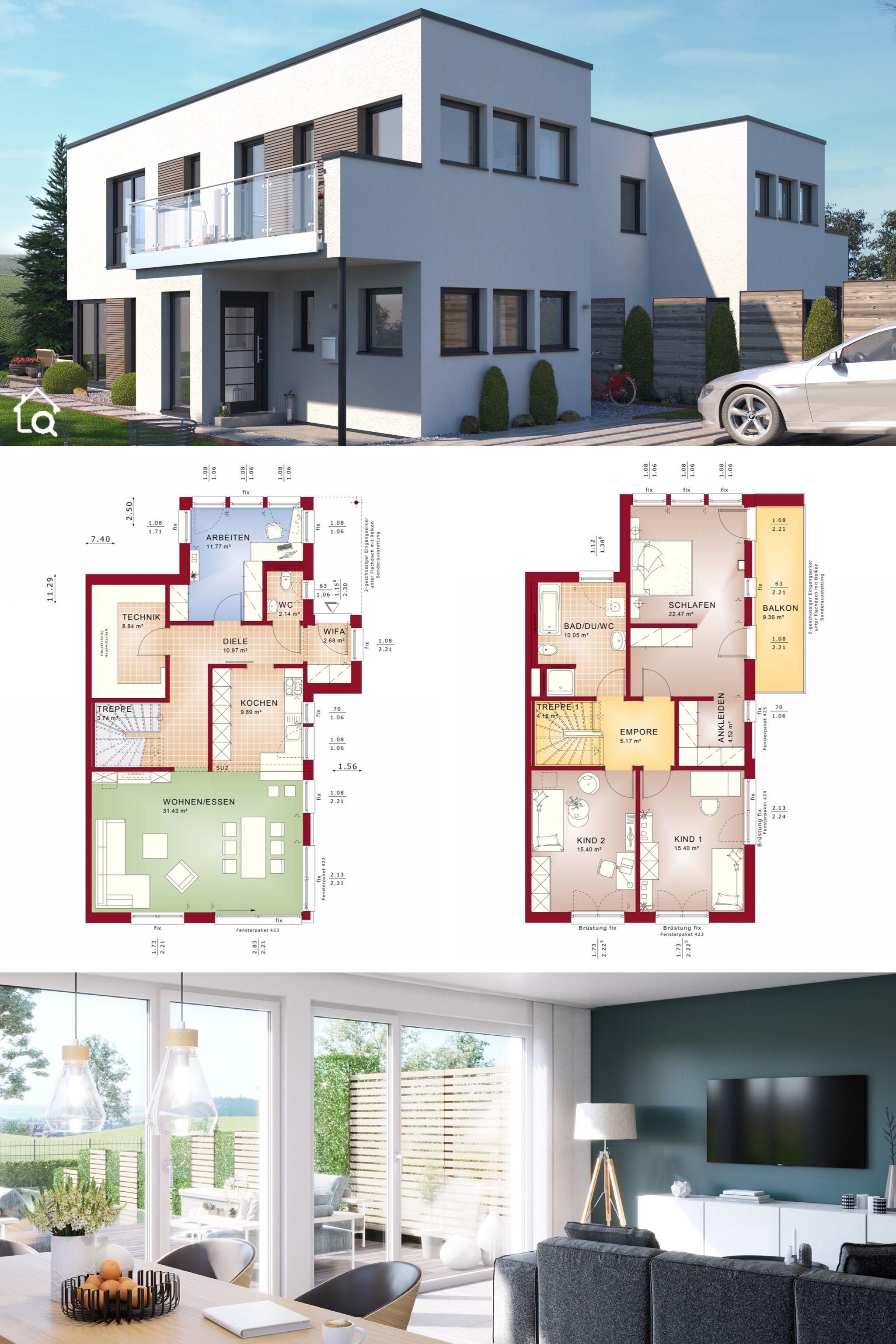 Doppelhaus modern Grundriss mit Flachdach Architektur im