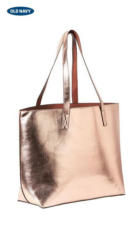 cc10ce86 This bag has it all: style, space, and a touch of glamour. This reversible  faux-leather tote is a classic taupe shade on one side and metallic on the  other ...