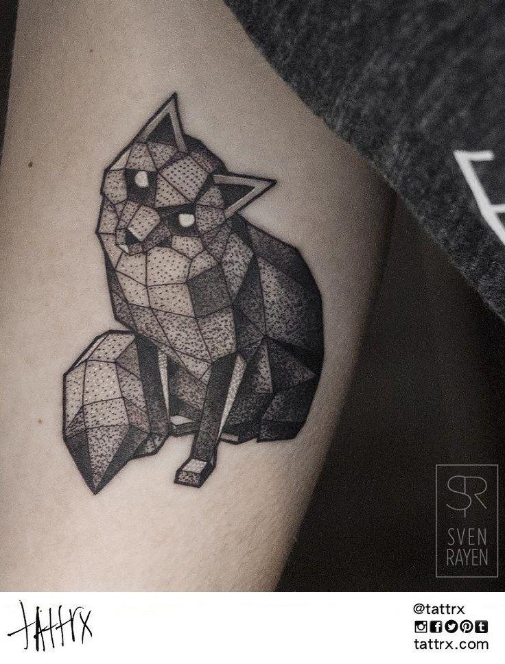 Sven Rayen Antwerp Belgium Polygonal Fox Tattrx Com Artists Sven Rayen Geometric Animal Tattoo Fox Tattoo Design Fox Tattoo
