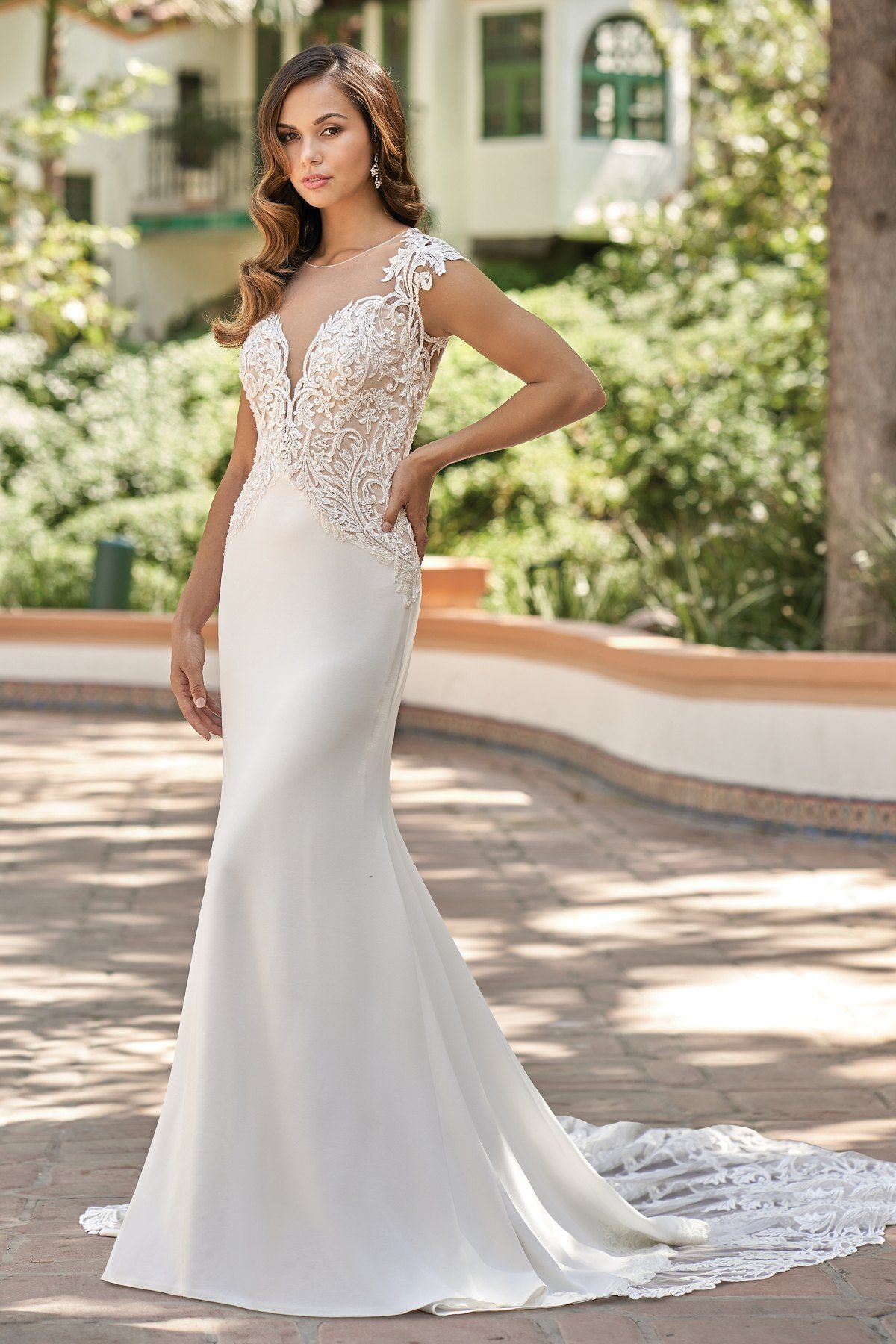 T212001 Romantic Embroidered Lace & Stretch Crepe Wedding