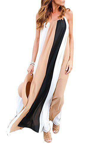 03fe31052257 Women s Sleeveless Spaghetti Strap Color Block Bohemian Beach Long Maxi  Dress