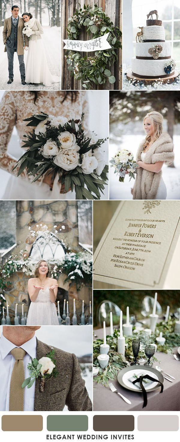 brown and muted sage green winter wedding
