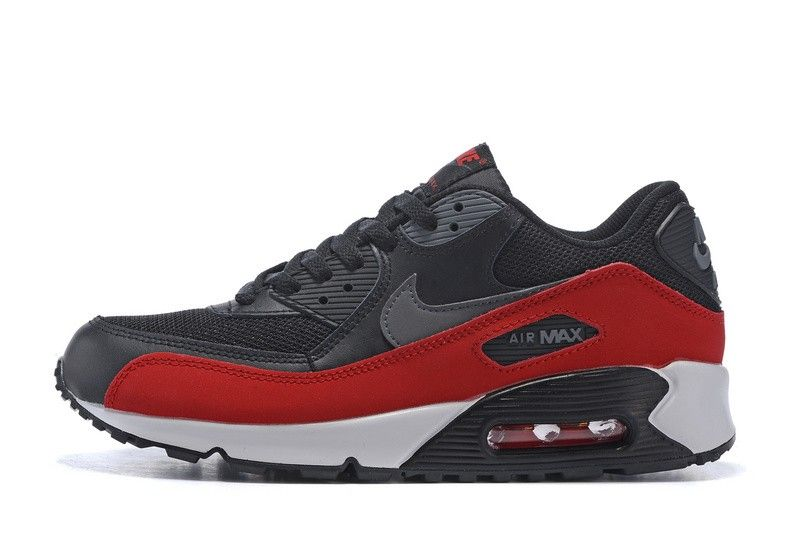 hot sale online e8be9 582b1 mens womens nike air max 90 essential running shoes black dark grey  university red 537384 062