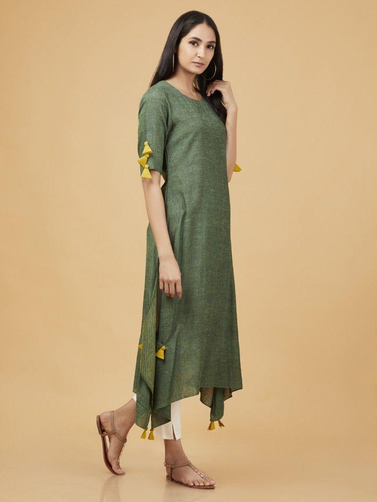 02dbbadb9f Buy Green Cotton Linen Asymmetric Kurta online at Theloom